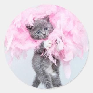 You gotta be kitten me! - Sassy cat print Round Sticker