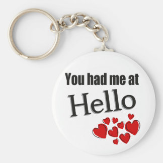 You had me at Hello English Basic Round Button Keychain