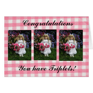 You have triplets greeting card