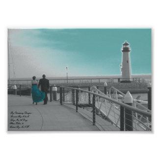 You Held My Hand Teal Sky Lighthouse Kodak Profess Photo Art