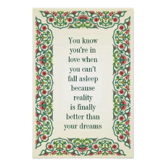 You know you're in love when you can't fall asleep posters