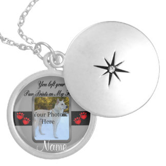 You left your Paw Prints on My Heart Silver Plated Necklace