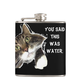 """You Lied To Fluffy"" Funny Cat Hip Flask"