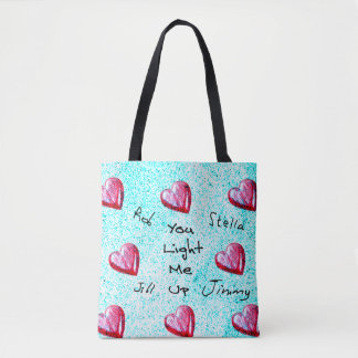 """""""You Light Me Up"""" Design With Customizable Names Tote Bag"""