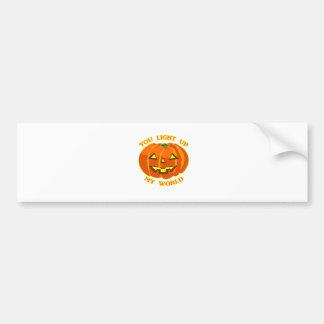 You Light Up My World Halloween Pumpkin Bumper Sticker