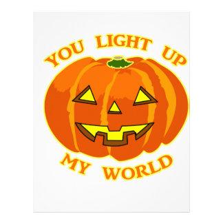 You Light Up My World Halloween Pumpkin Letterhead Template