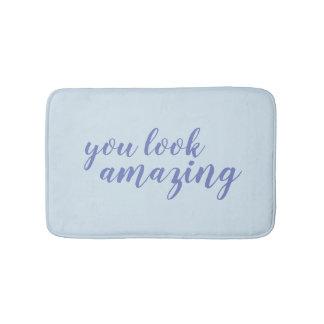 You look amazing blue calligraphy bath mat