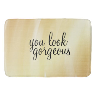 'You Look Gorgeous' Large Bath Mat Gold
