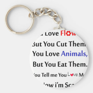 You love flowers, but you cut them. love animal basic round button keychain