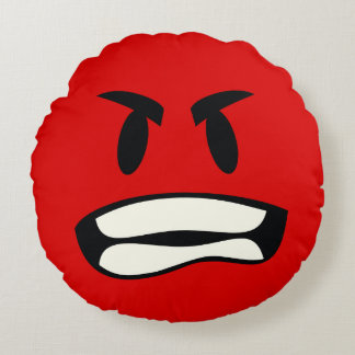 you mad bro? - rage emoji round pillow
