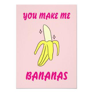 You Make Me Bananas Valentine's Card