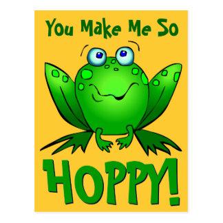 You Make Me So Hoppy Cute Cartoon Frog Orange Postcard