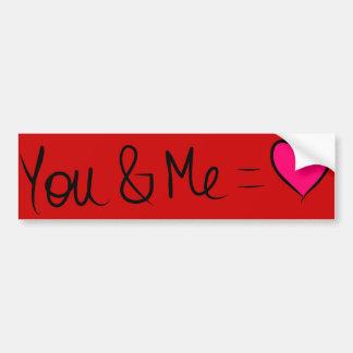 You & Me = Love Bumper Sticker