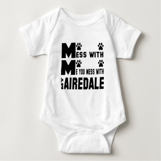 You mess with my Airedale Baby Bodysuit