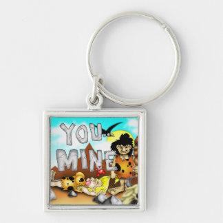 YOU MINE - Funny Prehistoric Caveman Valentine Silver-Colored Square Keychain