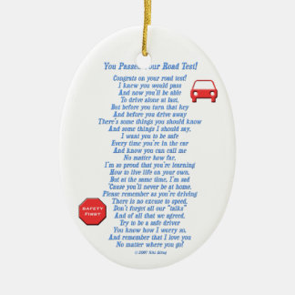 You Passed Road Test - New Driver Ceramic Oval Ornament