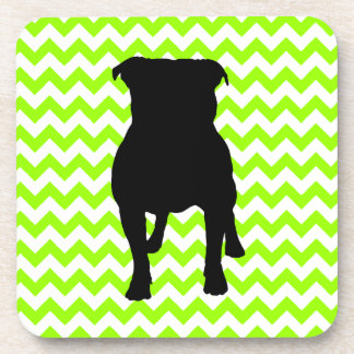 You Pick The Color Chevron With Pug Silhouette Coaster