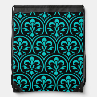 You Pick the Color with Black Damask Pattern Drawstring Bag
