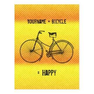 You Plus Bicycle Equal Happy Antique Yellow Orange Postcard