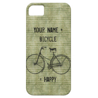 You Plus Bicycle Equals Happy Antique Bike Green iPhone 5 Case