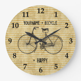 You Plus Bicycle Equals Happy Antique Bike Yellow Large Clock