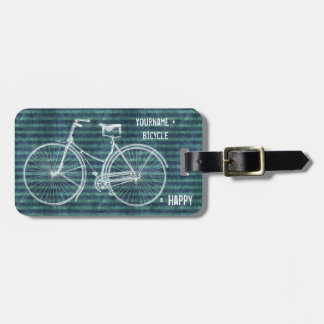 You Plus Bicycle Equals Happy Antique Blue Green Luggage Tag