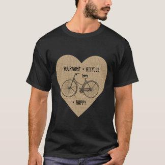 You Plus Bicycle Equals Happy Antique Heart Burlap T-Shirt
