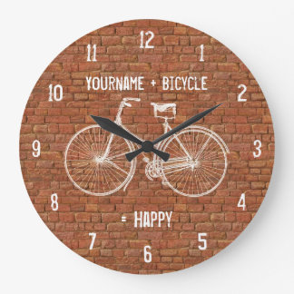 You Plus Bicycle Equals Happy Antique Red Bricks Wall Clocks