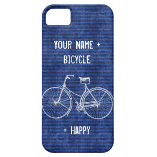 You Plus Bicycle Equals Happy Antique Stripes Blue iPhone 5 Cases