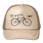You Plus Bicycle Equals Happy Antique Wheels Bike Trucker Hat
