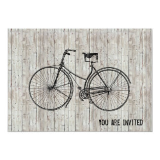 You Plus Bicycle Equals Happy Antique Wooden Plank Card