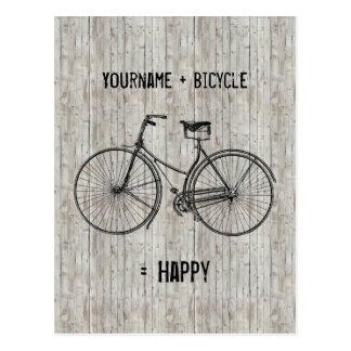 You Plus Bicycle Equals Happy Antique Wooden Plank Postcard