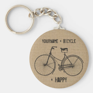 You Plus Bicycle Equals Happy Natural Burlap Sack Basic Round Button Keychain