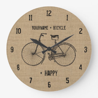 You Plus Bicycle Equals Happy Natural Burlap Sack Large Clock