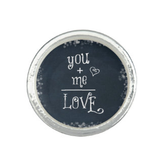 You Plus Me equals Love quote on Chalkboard Photo Rings