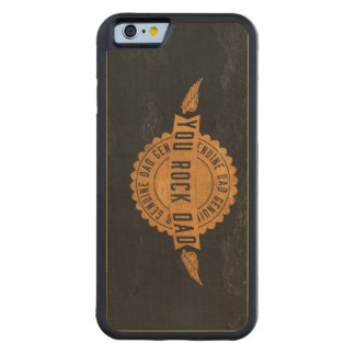 You Rock Dad Orange Black Emblem Carved Maple iPhone 6 Bumper Case