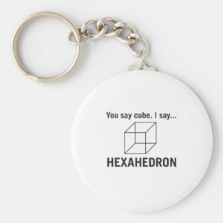 You say cube_ I say hexahedron Keychain