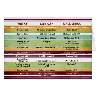 """""""You Say/God Says"""" Inspirational Bible Verses Card"""
