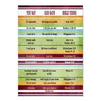 You Say/God Says Inspirational Bible Verses Magnetic Card