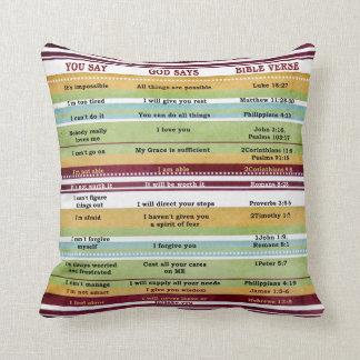 """""""You Say/God Says"""" Inspirational Bible Verses Throw Pillow"""