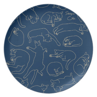 < You sleep, the cat (beige) > Sleeping cat Plate