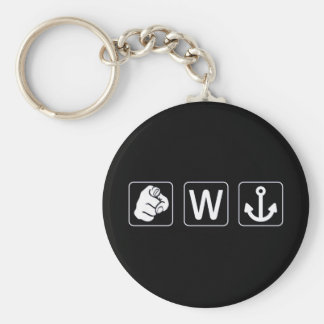 You W Anchor Keychain