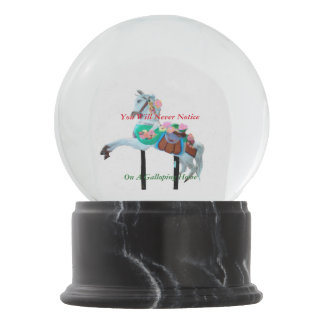 YOU WILL NEVER NOTICE CAROUSEL HORSE SNOW GLOBE