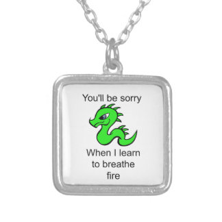 Youll be sorry - baby dragon silver plated necklace