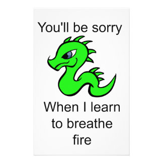 Youll be sorry - baby dragon stationery paper