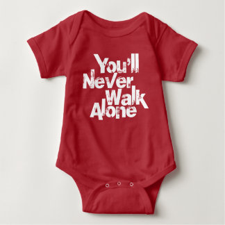 you'll never walk alone red baby bodysuit