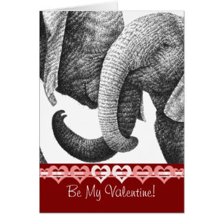 Young African Elephants Valentine Card