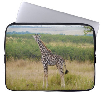 Young African Giraffe in Kenyan Savannah Scene Laptop Sleeve