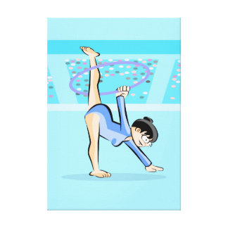 Young artistic gymnastics dances with the hoop canvas print