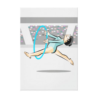 Young artistic gymnastics dancing with the hoop canvas print